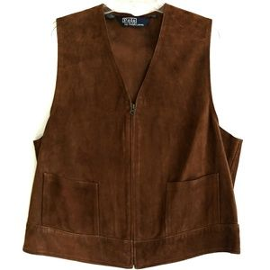 Polo Ralph Lauren Suede Leather Classic Vest Sz L